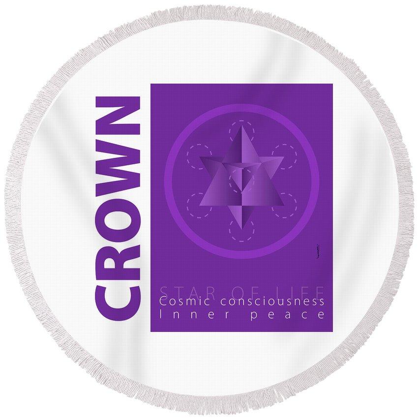 Purple Round Beach Towel featuring the digital art Crown Chakra Series Three by Experimenda