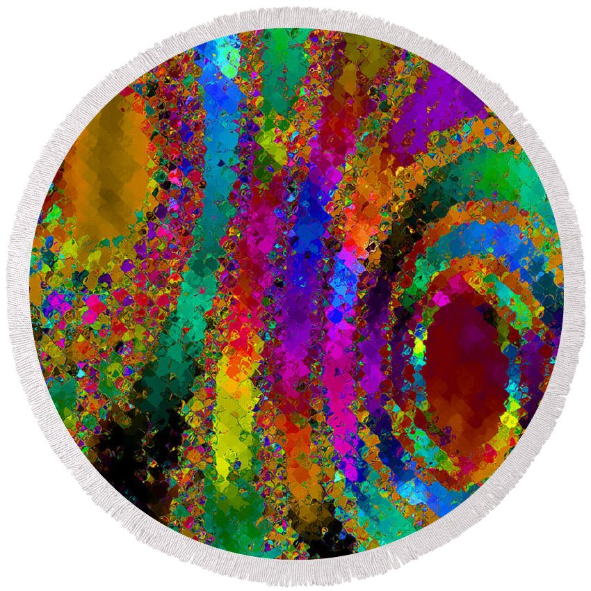 Abstract Round Beach Towel featuring the digital art Crown Jewels by Ruth Palmer