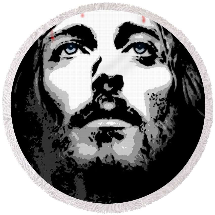 Jesus Round Beach Towel featuring the digital art Crown Of Thorns by George Pedro