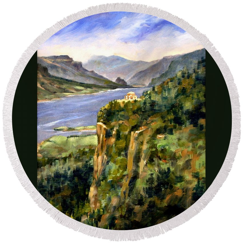 16 X 12 Round Beach Towel featuring the painting Crown Point Oregon by Jim Gola