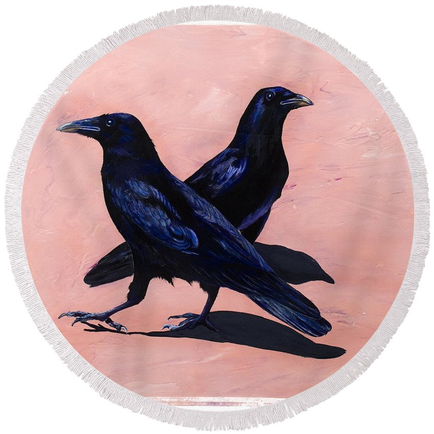 Crows Round Beach Towel featuring the painting Crows by Sandi Baker