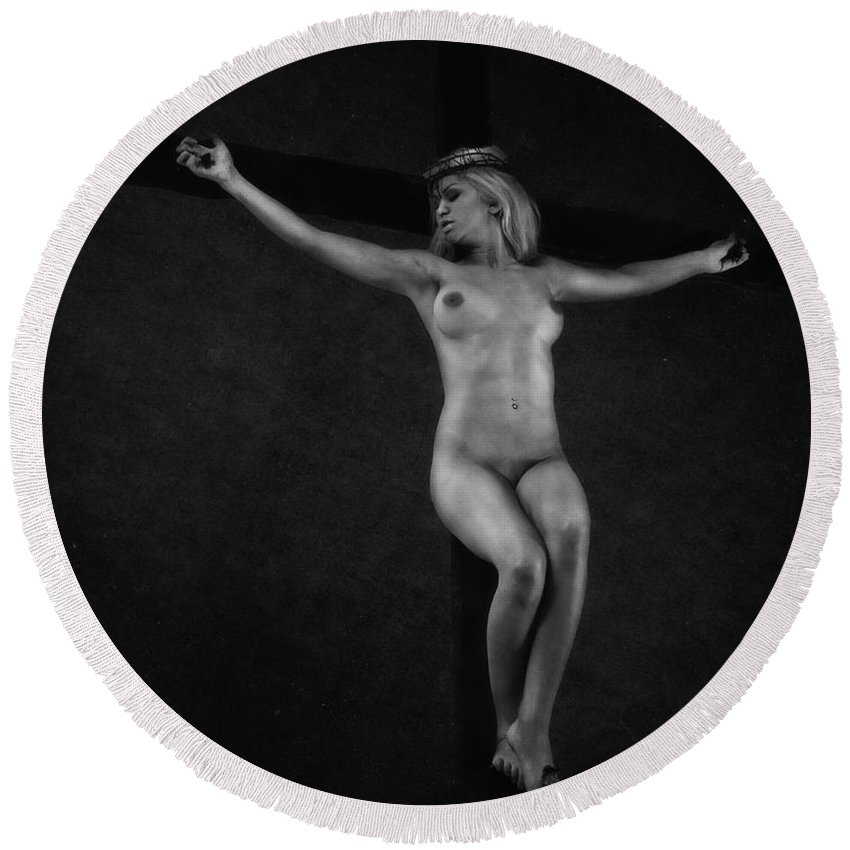 Crucified Round Beach Towel featuring the photograph Crucified Woman In Black And White. by Ramon Martinez