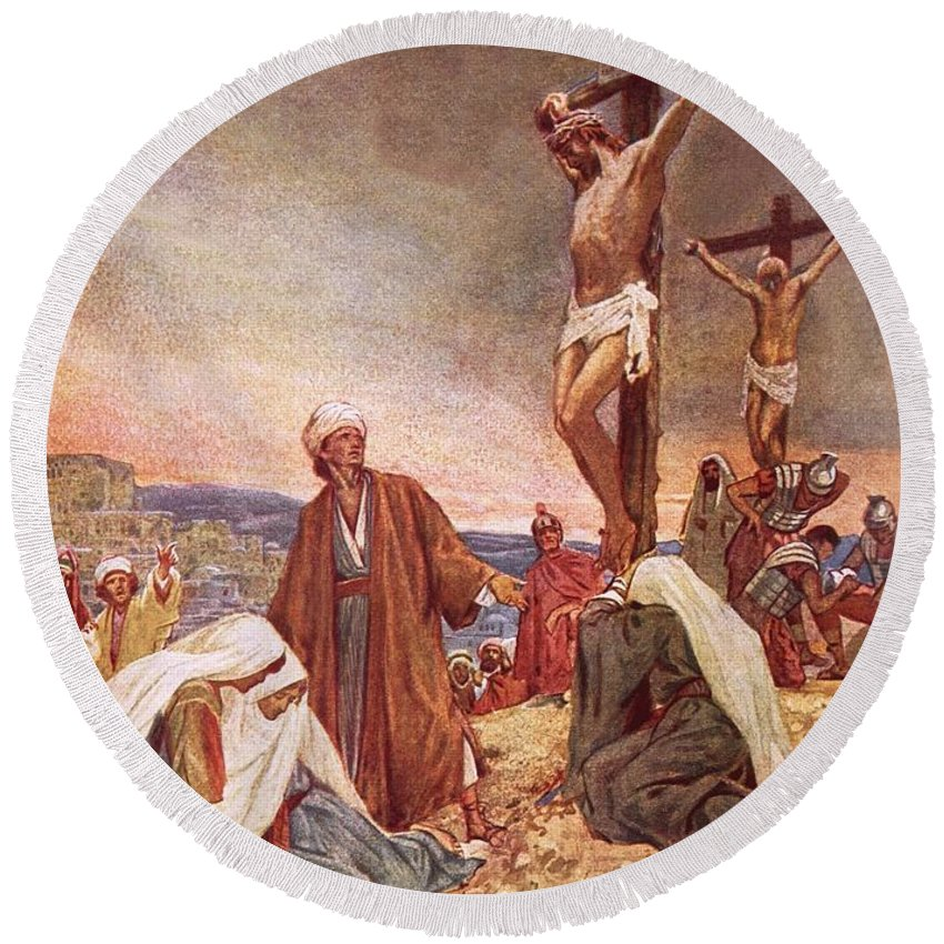 Bible; Jesus Christ; Crucifixion ;death; Weeping; Roman Soldiers Round Beach Towel featuring the painting Crucifixion by William Brassey Hole
