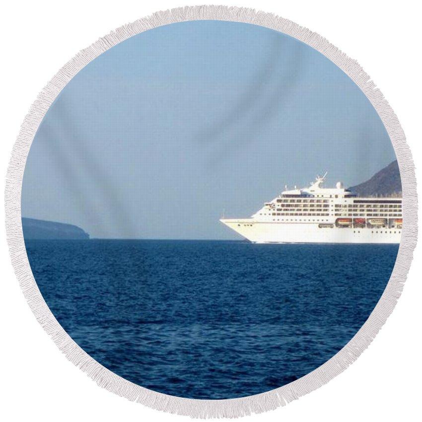 Santorini Round Beach Towel featuring the photograph Cruise Ship Departing 2 by Karen Norton