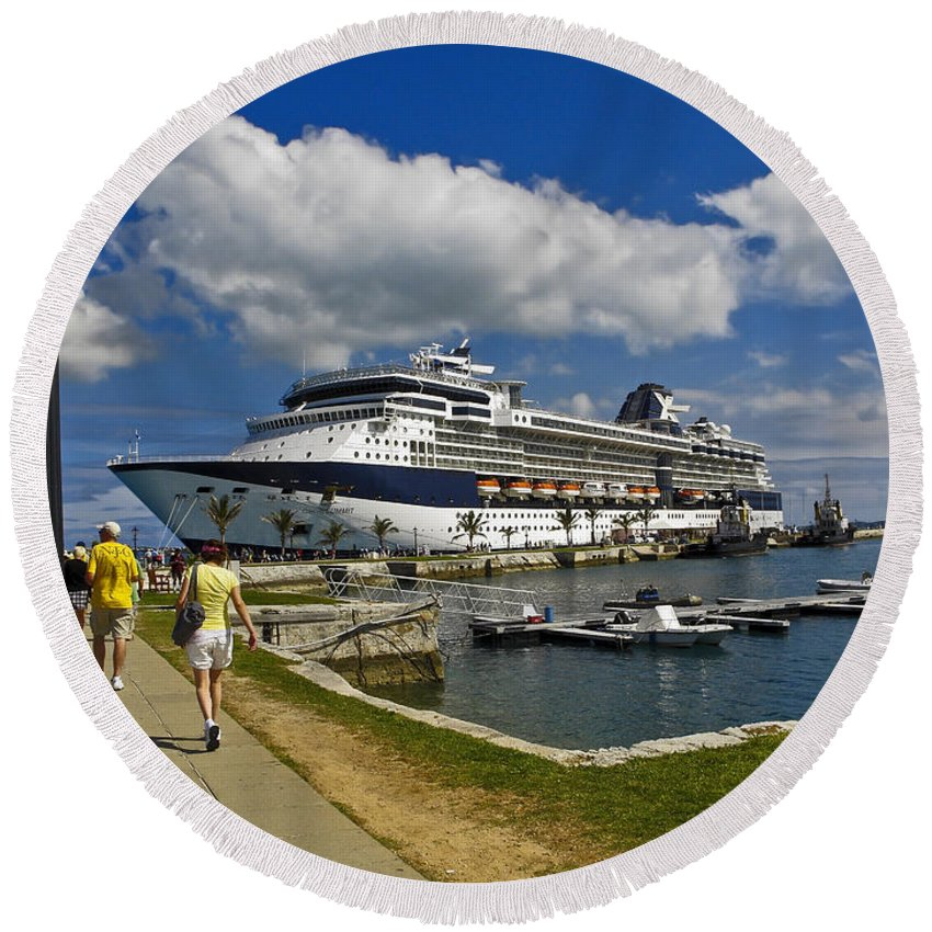 Royal Naval Dockyard Round Beach Towel featuring the photograph Cruise Ship In Bermuda by Sally Weigand