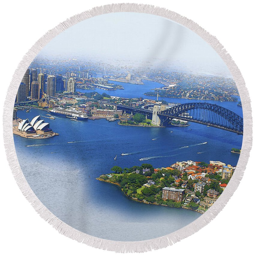 Art & Collectibles Round Beach Towel featuring the digital art Cruise Sydney by Don Kuing