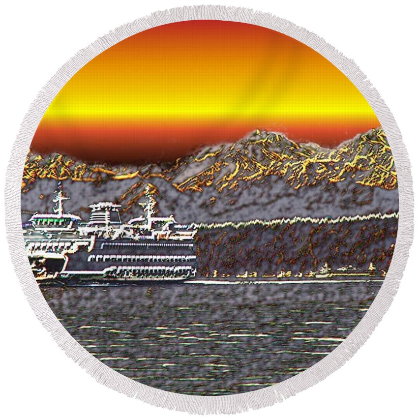 Seattle Round Beach Towel featuring the photograph Cruisin The Sound by Tim Allen