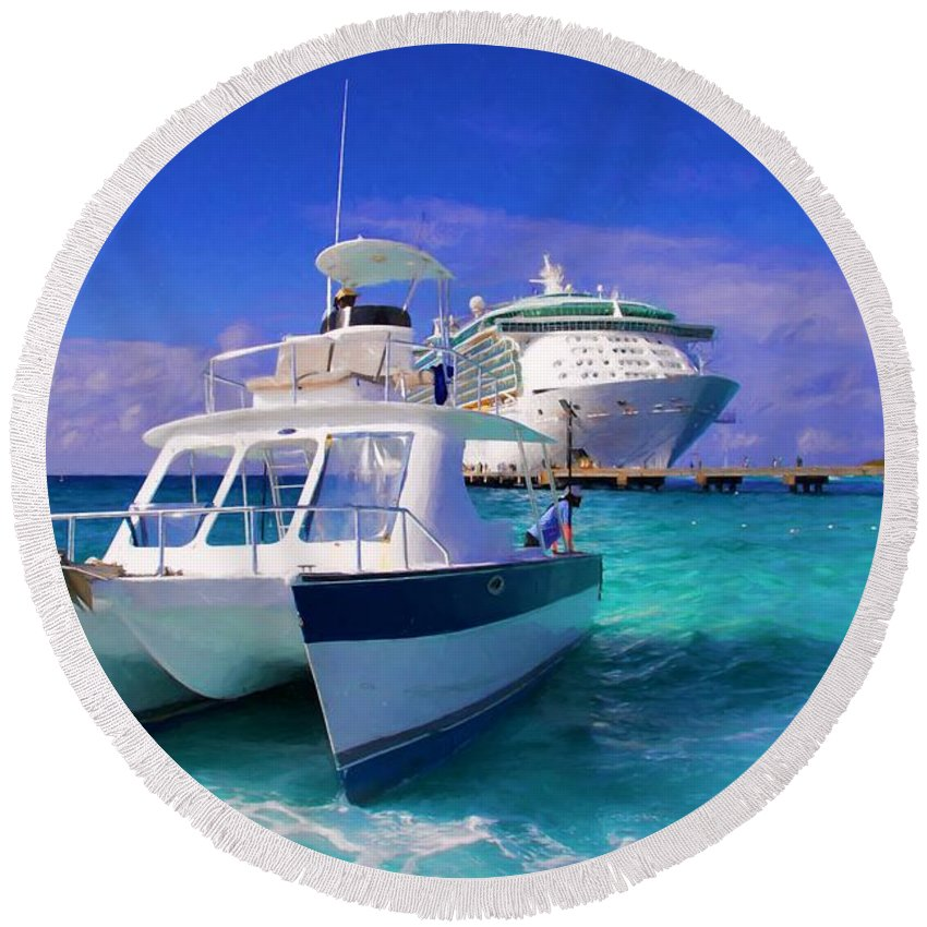 Alicegipsonphotographs Round Beach Towel featuring the photograph Cruising Blues by Alice Gipson