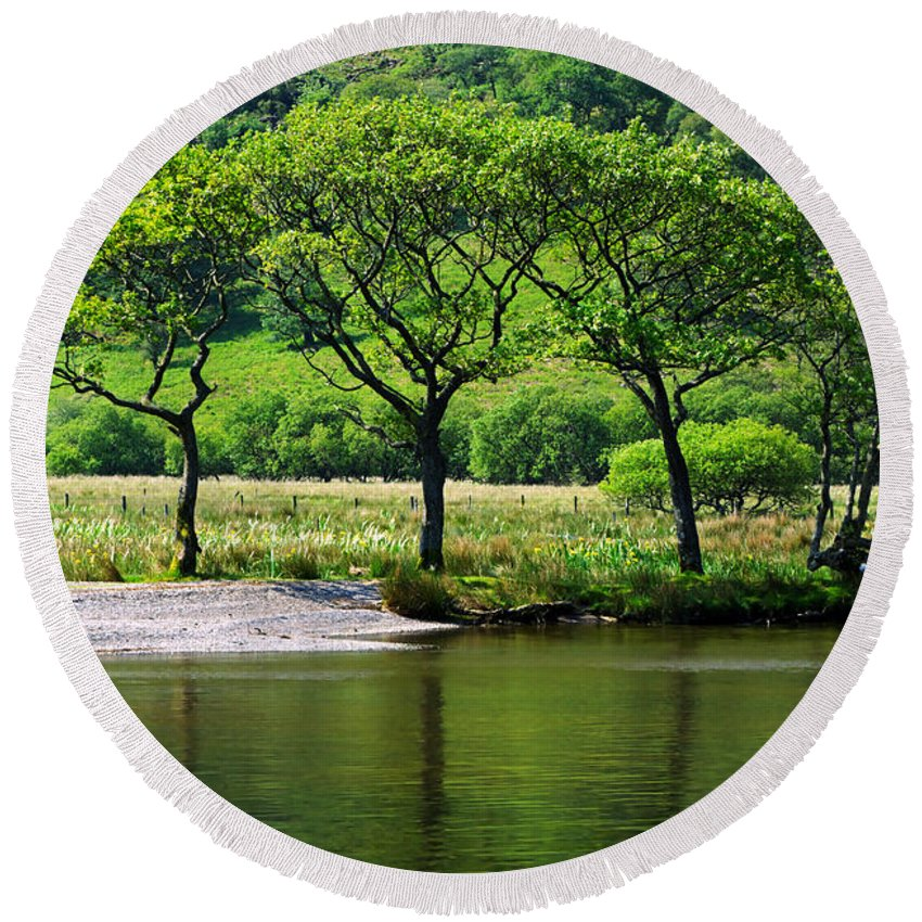 Trees Round Beach Towel featuring the photograph Crummock Water by Louise Heusinkveld