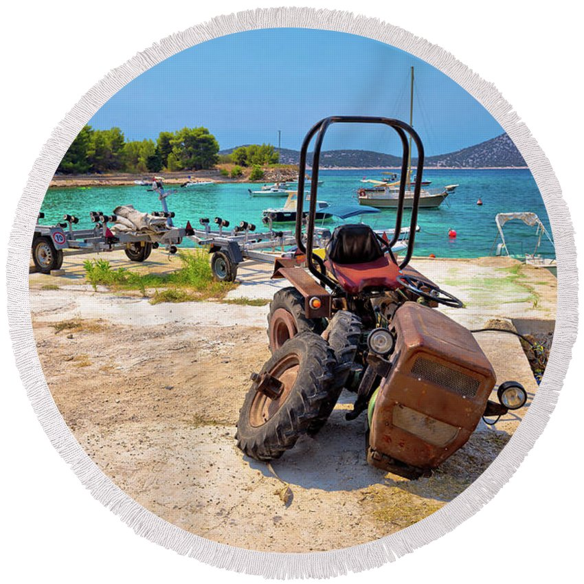 Prvic Round Beach Towel featuring the photograph Crushed Tractor By The Sea On Island Prvic by Brch Photography