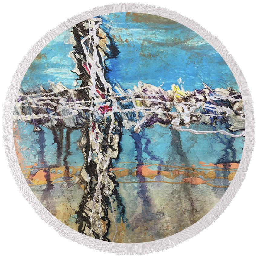 Abstract Round Beach Towel featuring the painting Crux 6 by Linda Cranston