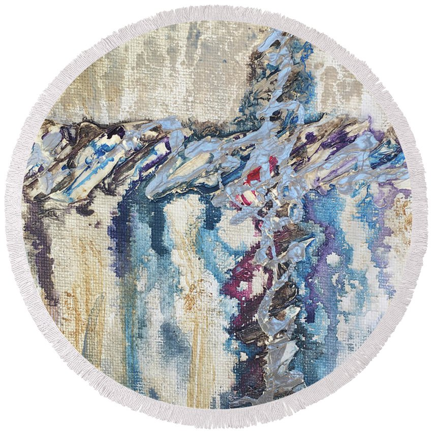 Abstract Round Beach Towel featuring the painting Crux 8 by Linda Cranston