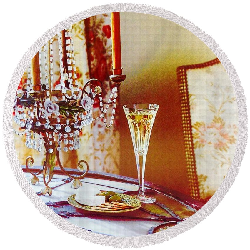 Round Beach Towel featuring the photograph Crystal And Champagne by Jacqueline Manos