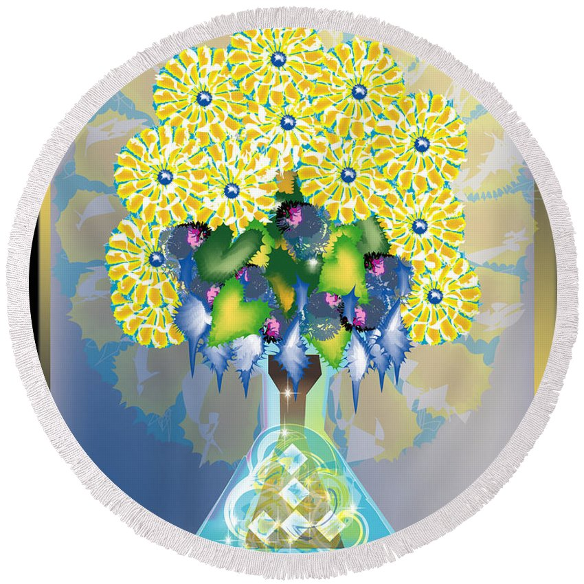 Flowers Round Beach Towel featuring the digital art Crystal Boquet by George Pasini