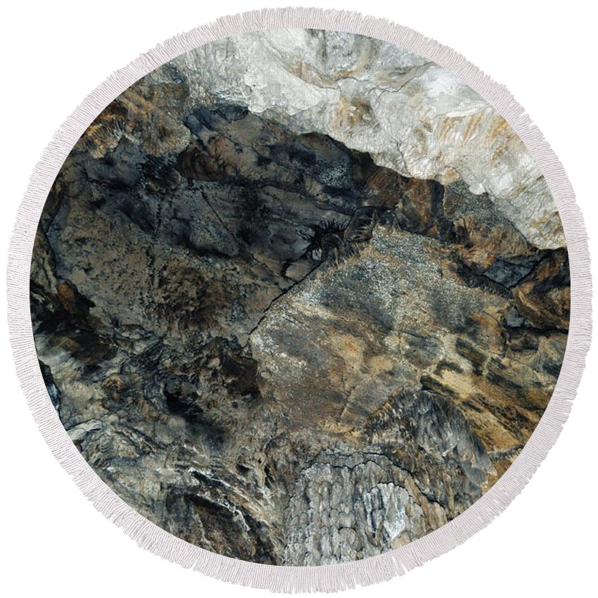 Sequoia National Park Round Beach Towel featuring the photograph Crystal Cave Marble Ceiling by Kyle Hanson