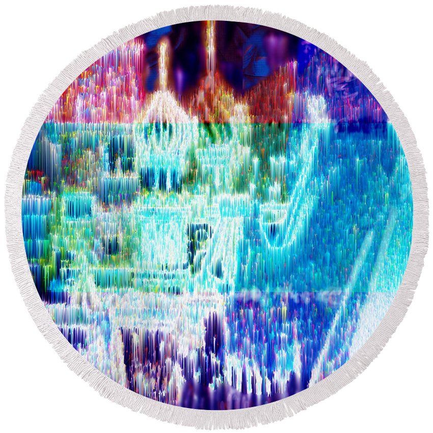 Northern Lights Round Beach Towel featuring the digital art Crystal City by Seth Weaver