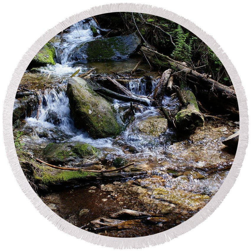 Nature Round Beach Towel featuring the photograph Crystal Clear Creek by Ben Upham III