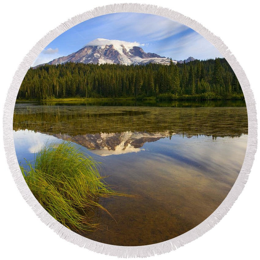 Lake Round Beach Towel featuring the photograph Crystal Clear by Mike Dawson