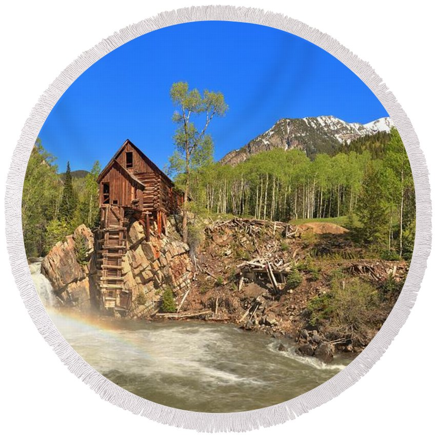 Crystal Mill Round Beach Towel featuring the photograph Crystal Colorado Dead Horse Mill by Adam Jewell