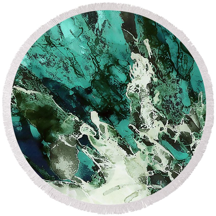 Abstract Round Beach Towel featuring the painting Crystal Fantasy by Klara Acel