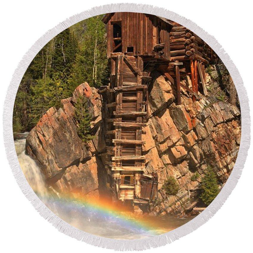 Crystal Mill Rainbow Round Beach Towel featuring the photograph Crystal Mill Rainbow by Adam Jewell