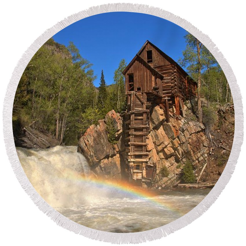Crystal Mill Round Beach Towel featuring the photograph Crystal Mill Rainbow Portrait by Adam Jewell