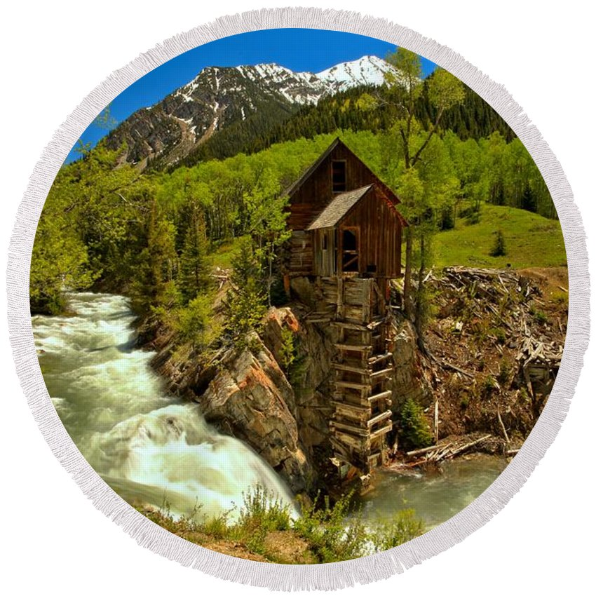 Crystal Mill Round Beach Towel featuring the photograph Crystal Mill Summer Landscape by Adam Jewell