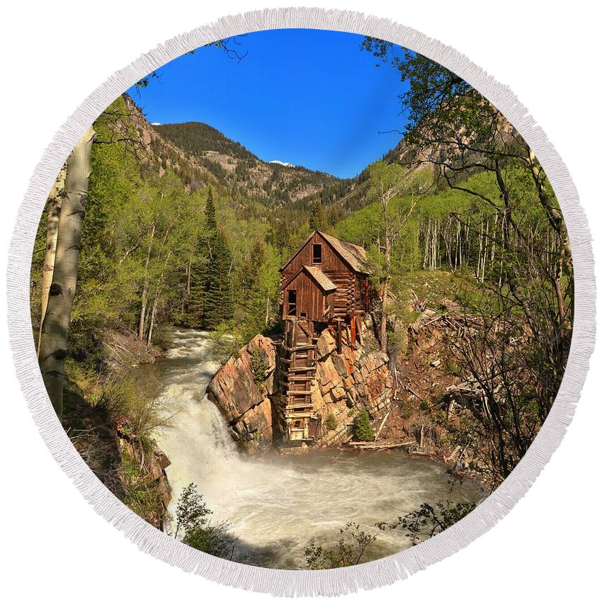 Crystal Mill Round Beach Towel featuring the photograph Crystal Mill Through The Trees by Adam Jewell