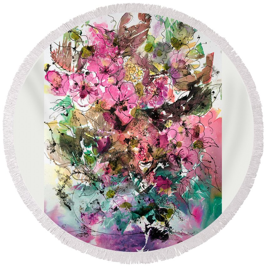 Abstract Impressionism Round Beach Towel featuring the painting Crystal Reflections by Barbara Colangelo
