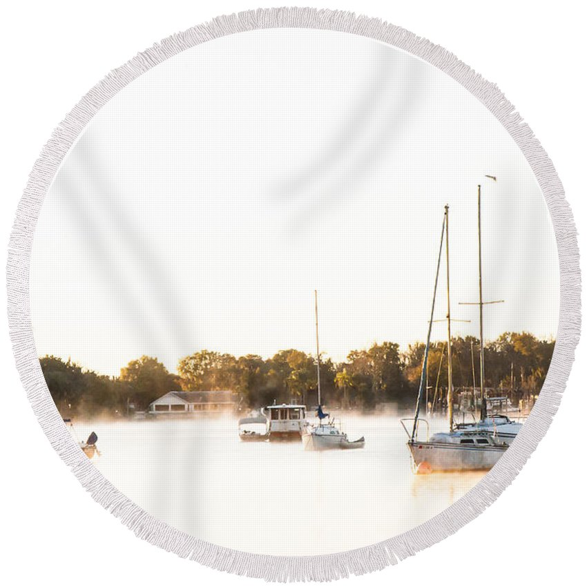 Sailboat Round Beach Towel featuring the photograph Crystal River Anchorage by Norman Johnson