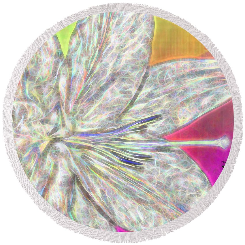 Crystal Round Beach Towel featuring the photograph Crystal White Lily by Margaux Dreamaginations