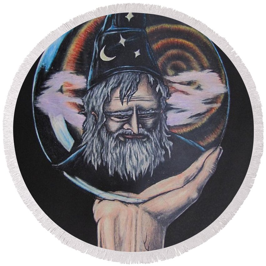 Michael Finney Round Beach Towel featuring the drawing Crystal Wizard by Michael TMAD Finney