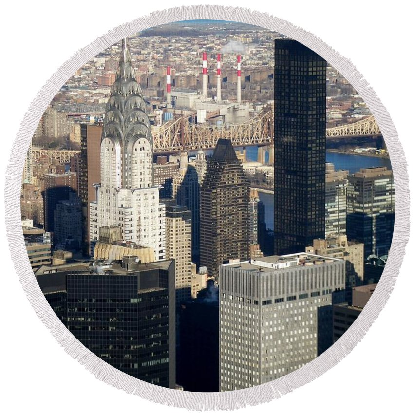 Crystler Building Round Beach Towel featuring the photograph Crystler Building by Anita Burgermeister