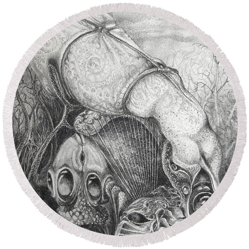 Surrealism Round Beach Towel featuring the drawing Ctulhu Seedpods by Otto Rapp