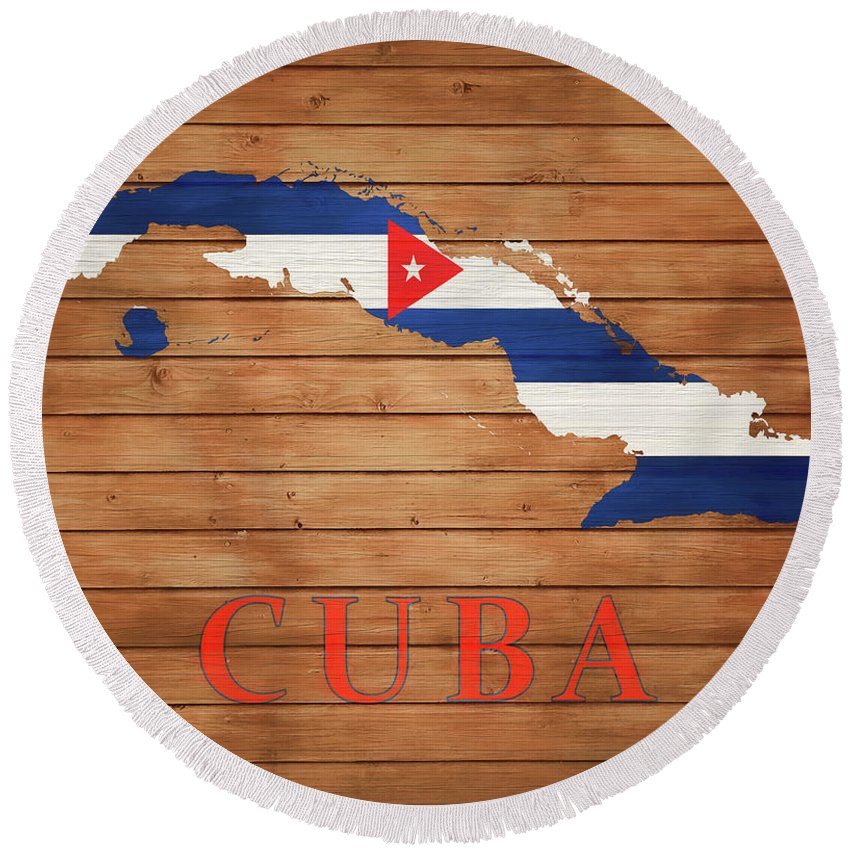 Cuba Rustic Map On Wood Round Beach Towel featuring the mixed media Cuba Rustic Map On Wood by Dan Sproul