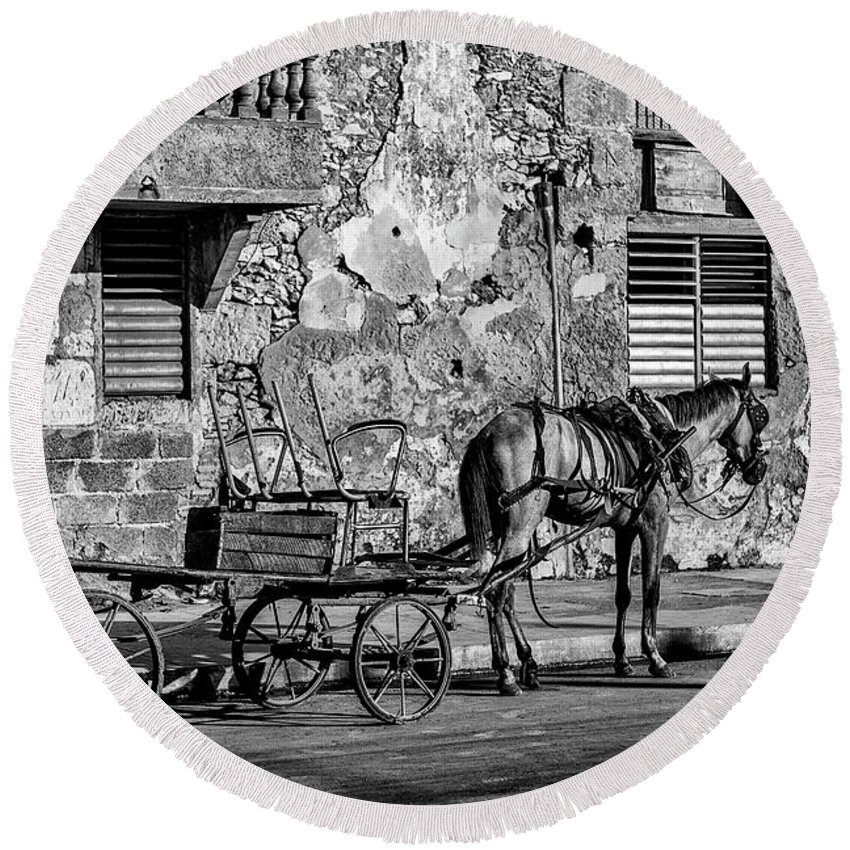 Cuban Horse Power; Cuban; Horse; Power; Horse And Carriage; Carriage; Hp; Cuba; Photography & Digital Art; Photography; Photo; Photo Art; Art; Digital Art; 2bhappy4ever; 2bhappy4ever.com; 2bhappy4evercom; Tobehappyforever; Round Beach Towel featuring the photograph Cuban Horse Power BW by Erron