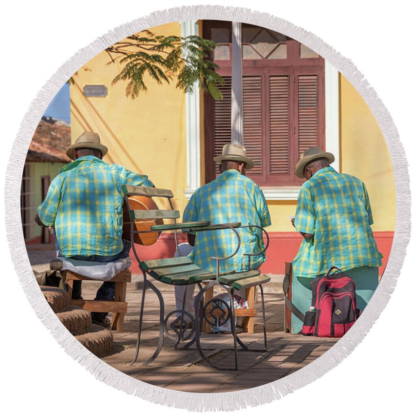 Cuba Round Beach Towel featuring the photograph Cuban Music by Delphimages Photo Creations