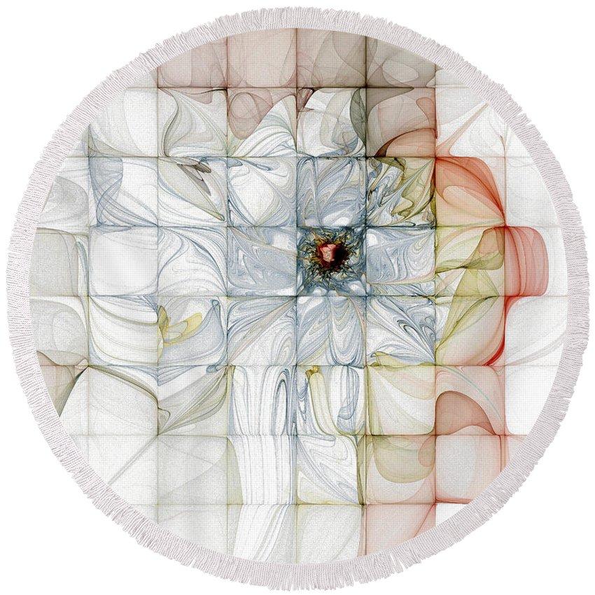 Digital Art Round Beach Towel featuring the digital art Cubed Pastels by Amanda Moore
