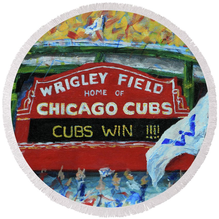 Chicago Cubs Round Beach Towel featuring the painting Cubs Win by Elizabeth Roskam