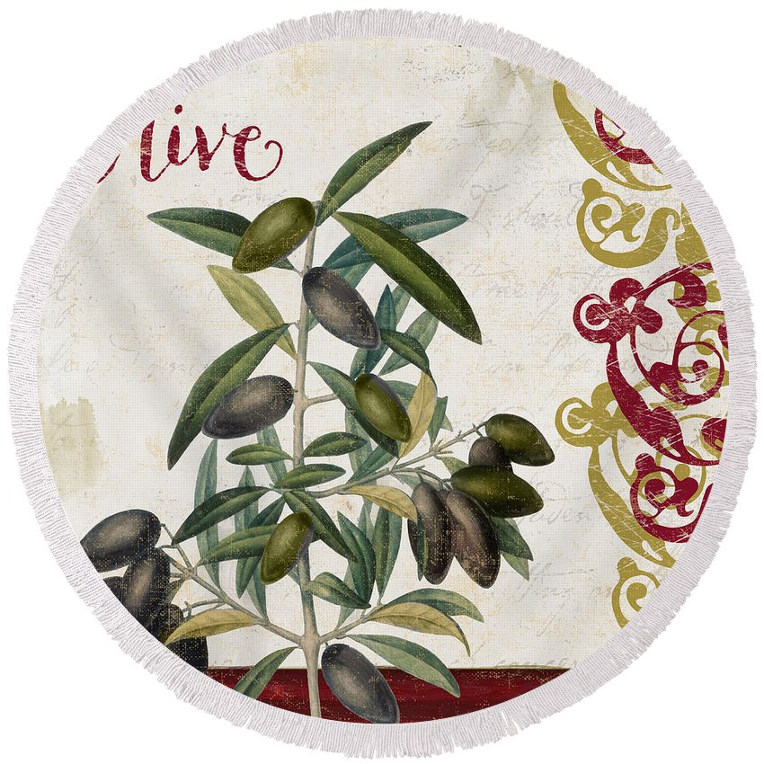 Olives Round Beach Towel featuring the painting Cucina Italiana Olives by Mindy Sommers