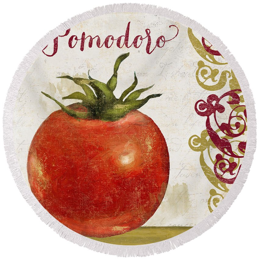 Pomodoro Round Beach Towel featuring the painting Cucina Italiana Tomato Pomodoro by Mindy Sommers