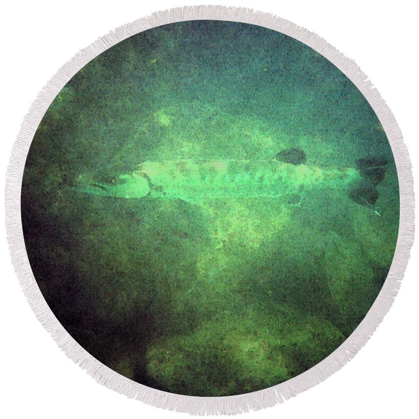 Barracuda Round Beach Towel featuring the digital art Cuda In The Water by Tommy Anderson