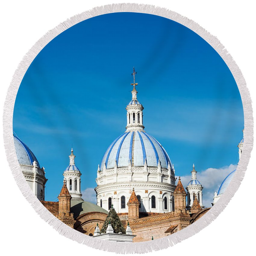 Ecuador Round Beach Towel featuring the photograph Cuenca Cathedral Domes by Jess Kraft