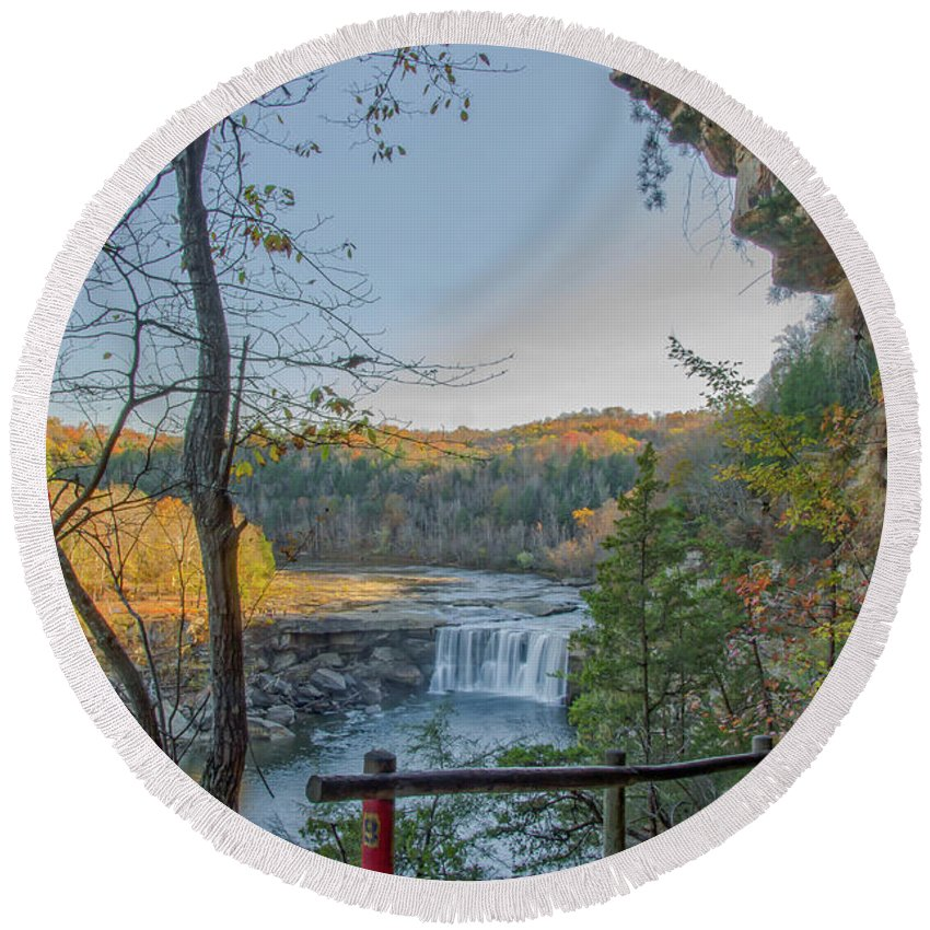Cumberland Round Beach Towel featuring the photograph Cumberland Falls Ky From Eagle Falls Trail by Ina Kratzsch