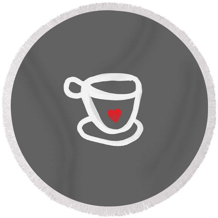 Coffee Round Beach Towel featuring the painting Cup Of Love- Shirt by Linda Woods