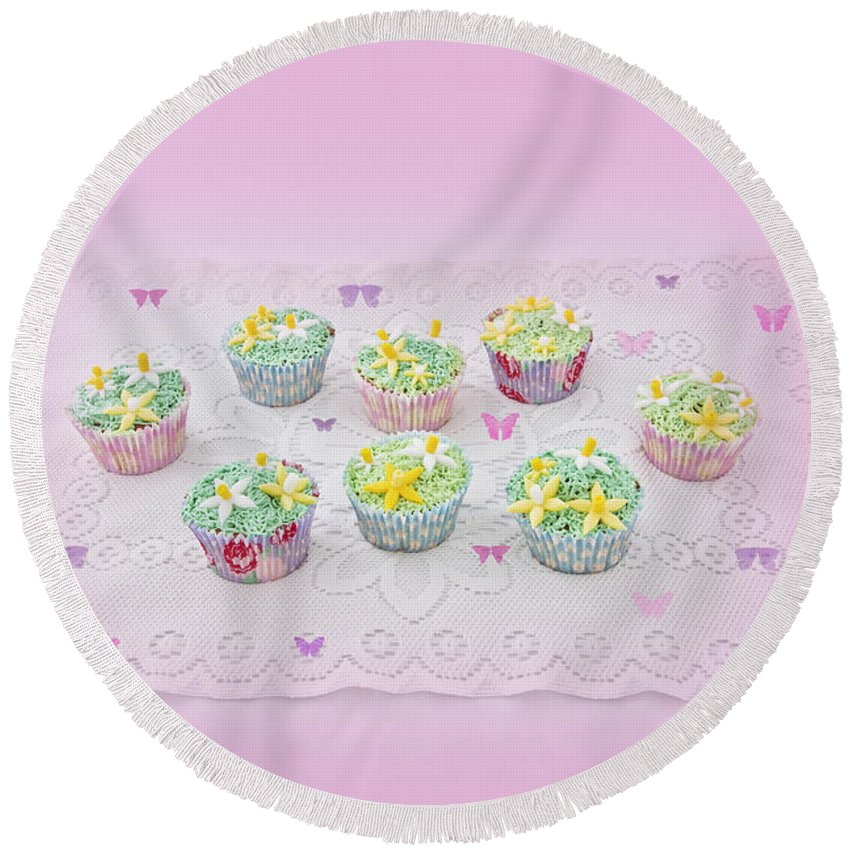 Pink Round Beach Towel featuring the photograph Cupcakes And Butterflies by Terri Waters