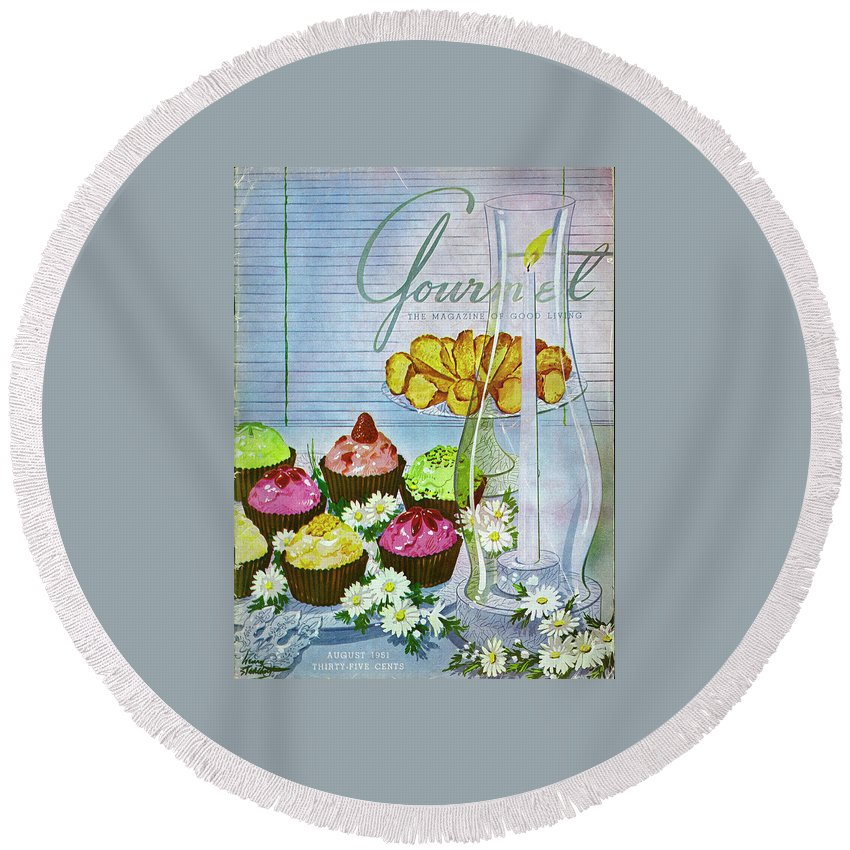 Illustration Round Beach Towel featuring the photograph Cupcakes And Gaufrettes Beside A Candle by Henry Stahlhut