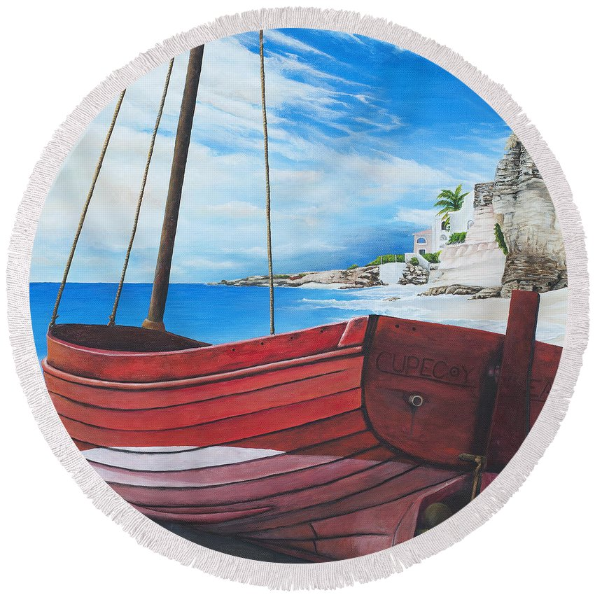 St Maarten Round Beach Towel featuring the painting Cupecoy Beach by Cindy D Chinn