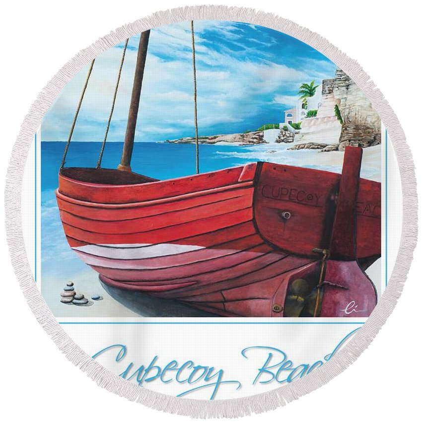 Red Round Beach Towel featuring the painting Cupecoy Beach Poster by Cindy D Chinn