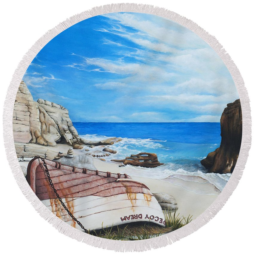 Sint Maarten Round Beach Towel featuring the painting Cupecoy Dream by Cindy D Chinn